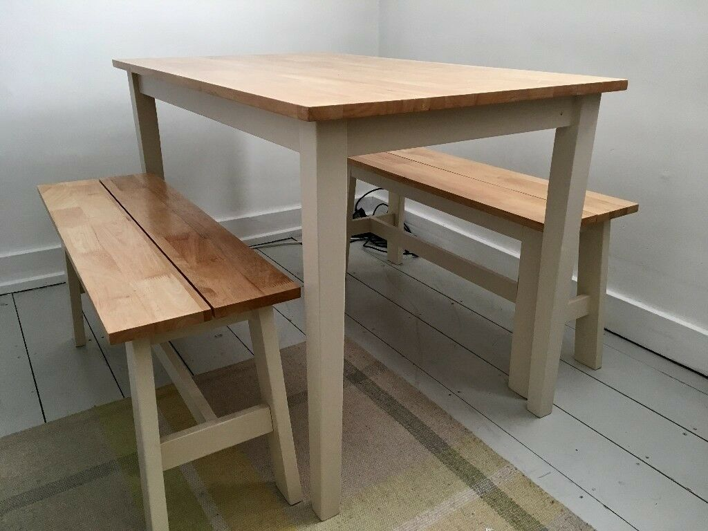 Chiltern 115cm Dining Table Set With Benches Oak White