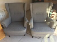 Pair of Ikea Grey Wing Back Armchairs Excellent Condition