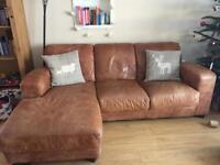 Tan leather left hand corner sofa