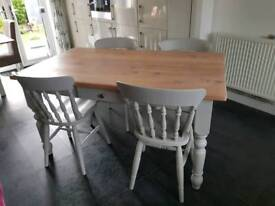 Stunning solid wood rustic farmhouse table and chairs