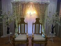 Asian Wedding Stages,Floral Stages,Chair Covers,Walkway,Headtable Decor & Centrepieces For Hire