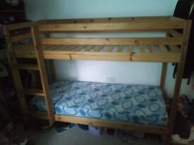 Wooden bunk bed with mattresses- excellent condition