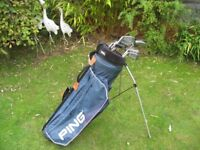 LADIES RIGHT HAND GOLF CLUBS IN BAG WITH STAND