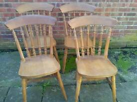 Four Vintage solid pine kitchen farmhouse chairs