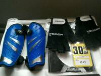 Unisex shinpads and Kooga grip gloves