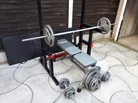 Squat and dip rack, bench, weights, and padded mat