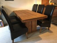 Solid teak dining table and 6 leather chairs - Barker and Stonehouse