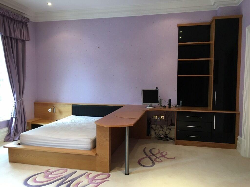 Luxury Bedroom Furniture Double Bed Desk Bedside Tables Black Rrp