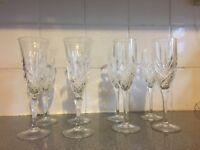 8 champagne flutes, 2 designs, (4 of each)