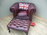 Stunning Oxblood Leather Chesterfield Club Chair and Stool.