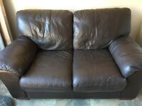 Brown Leather Two seat Couch