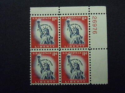1044A 11C STATUE OF LIBERTY PLATE BLOCK MNH OG