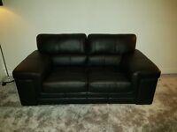 New 3 + 2 black leather sofa