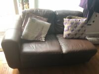 Two large leather 3 seater sofas and two seater leather corner sofa