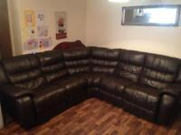 DARK BROWN LEATHER 6 SEATER ELECTRIC RECLINER CORNER SOFA IN EXCELLENT CONDITION FREE DELIVERY