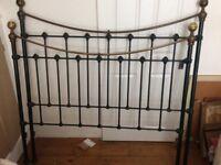 Iron bed company double metal headboard and footboard dark green frame