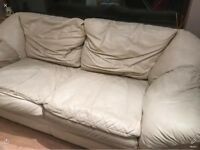 3 & 2 seater settee. Italian cream leather FREE