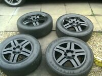 SET 4 ,GENUINE V W FACTORY,15 INCH,5 STUD,5 X 100 PCD ALLOYS,CENTRES AND 195/65/15 TYRES