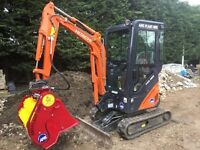 Mini digger hire, soil screener, top soil