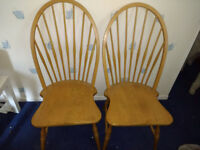2 x Tall Back Dining Chairs / Spindle / Solid PINE wood