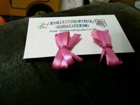Pink Bow Hair clips, handmade