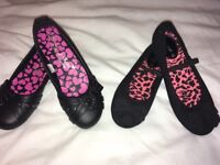 BNWOT GIRLS BLACK SCHOOL SHOES BALLET STYLE SIZE 13 YOUTH