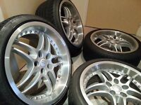 "Rondell Staggered VW Golf Bora MK4 18"" Wheels 10J NEW TYRES Massive Lip 5x100"