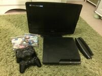 PS3 with 3Controllers, portable tv with DVD, charging lead & 2 x little big planet games