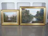 From London 2 X Beautiful Framed Landscape Oil Paintings