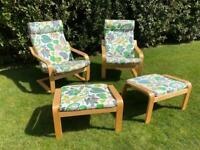 2 x IKEA POANG rocking chairs and footstools