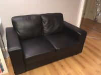 Black Faux Leather 2-Seater Sofa