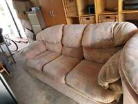 Free 3 Seater Sofa, Armchair and Pouffe