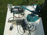 1-Black and Decker Hammer Drill+1-Drill Stand+1-Testrite Bench Grinder