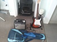 Squire by Fender Guitar, Amplifier and case