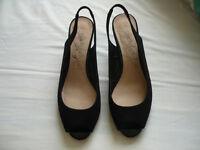 Black nubuck slingback shoes size 6