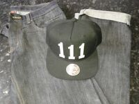 Brand new Mens 32R jeans and snapback cap
