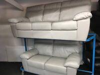 ScS New/Ex Display Grey Leather 2 + 3 Seater Sofa