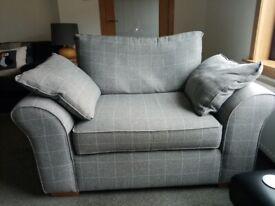 Grey check armchairs X 2