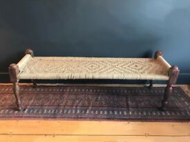 Indian Charpoy Day Bed, Hallway or Bedroom Bench, Charpai, Vintage Carved Wood