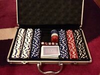 Casino chips set and pocker table top
