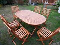 Garden Hard wood table and 6 chairs