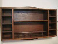 Wall hanging wooden shelf unit