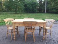 Pine farmhouse scrub top table and chairs.