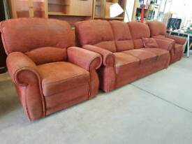 Large red fabric 3 seater with chair and recliner