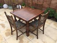Extending Solid Wood Dining Table and 4 Chairs
