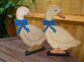 Hand Painted Wooden Vintage Ornamental Geese