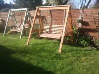 treated Wooden Swing Seat - Large Heavy Duty 2 Seater Outdoor Garden Swing Bench