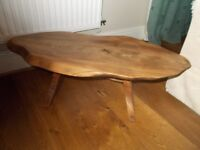A SOLID ENGLISH OAK SMALL RUSTIC SIDE TABLE