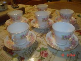 COLCLOUGH 6 CUPS AND SAUCERS