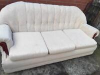 Cream fabric sofa and arm chair